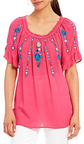 Intro Scoop Neck Flutter Sleeve Embroidered Top
