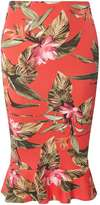 Dorothy Perkins Orange Tropical Peplum Hem Pencil Skirt