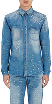 Givenchy Men's Distressed Work Shirt-BLUE
