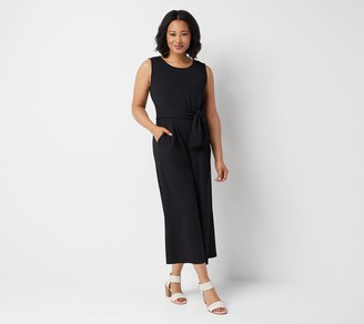 Du Jour Regular Cropped Wide Leg Knit Jumpsuit with Tie Waist