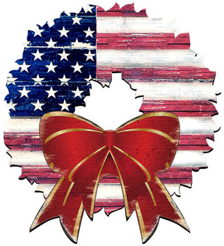 Designocracy American Flag Wreath Door Hanger