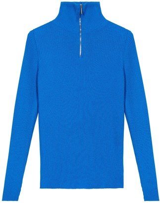 Johnstons of Elgin Elise Skinny Rib Zip Neck Cashmere Jumper China Blue