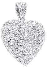 Ladies Designer Pave Large Heart Charm Diamond Pendant 4ctw in 14k Gold with Cable Chain by Luxurman