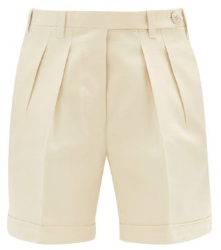 Giuliva Heritage Collection The Husband Pleated Cotton-twill Shorts - Beige