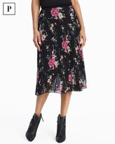 White House Black Market Petite Floral Pleated Midi Skirt