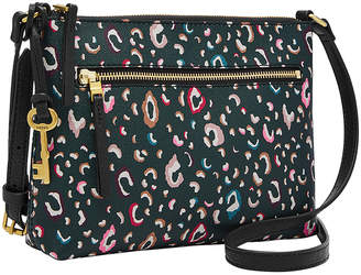 Fossil Women's Crossbodies - Black & Colorful Spots Leather Fiona Crossbody Bag