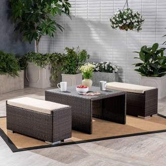 Christopher Knight Home Santa Rosa 3pc Wicker Coffee Table and Ottoman Set - Multibrown