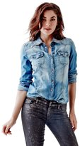 GUESS Women's Slim-Fit Denim Shirt in Fiddle Wash
