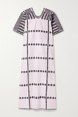 Pippa Net Sustain Embroidered Striped Cotton Huipil - Pink