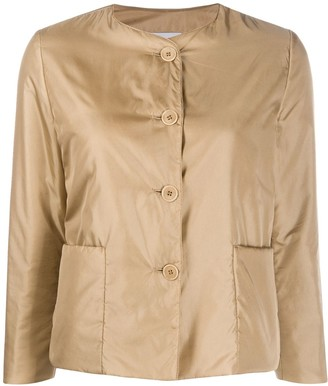 Aspesi collarless padded sateen jacket