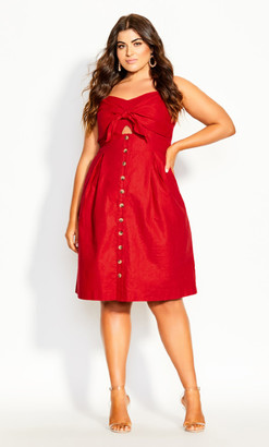 City Chic Sweetly Tied Dress - red