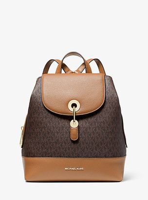 Michael Kors Raven Medium Logo and Pebbled Leather Backpack