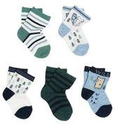 F&F 5 Pair Pack of Woodland Ankle Socks, Newborn Boy's