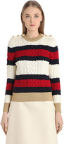 Gucci Striped Wool Cable Knit Sweater W/ Lurex