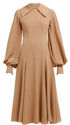 Emilia Wickstead Gaynor Panelled Midi Dress - Womens - Light Brown