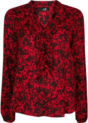 Wallis Red Floral Print Frill Trim Top
