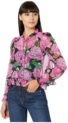 The Kooples Floral Blouse (Black/Pink) Women's Clothing