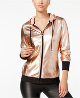 Material Girl Active Juniors' Metallic Zip Hoodie, Only at Macy's