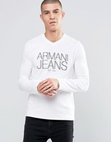 Armani Jeans T-Shirt With V Neck Long Sleeves In White
