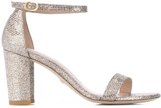 Stuart Weitzman Glitter-Effect Block-Heel Sandals