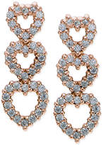 Giani Bernini Cubic Zirconia Pavé Triple Heart Drop Earrings in 18k Rose Gold-Plated Sterling Silver, Only at Macy's