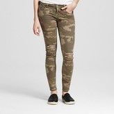 Vanilla Star Women's Camo Slit Knee Destructed Skinny Jeans Juniors')