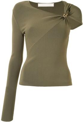 Dion Lee Asymmetric-Sleeve Knit Top