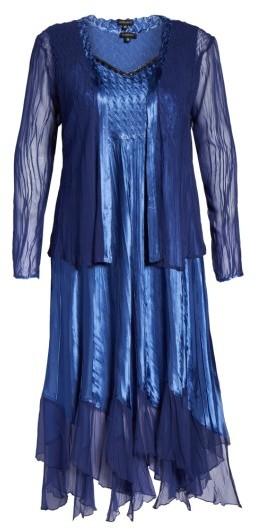 Komarov Plus Size Women's Embellished A-Line Dress And Jacket