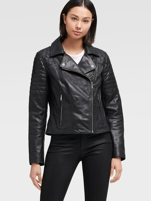 DKNY Women's Leather Motorcycle Jacket - Black - Size XS