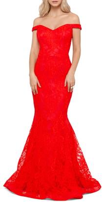 Xscape Evenings Off the Shoulder Lace Gown
