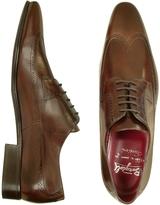 Fratelli Borgioli Handmade Brown Italian Leather Wingtip Dress Shoes