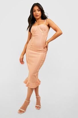boohoo Petite Bandage Frill Hem Midi Dress