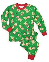 Sara's Prints Unisex Dog in Santa Hat Holiday Pajama Set - Little Kid