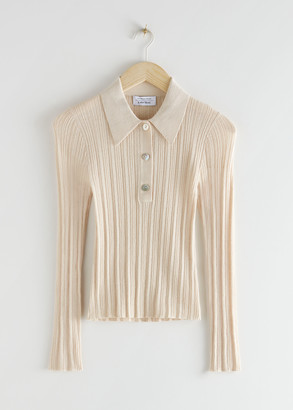 And other stories Sheer Fitted Polo Top
