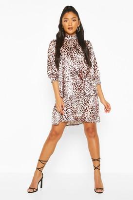 boohoo Leopard Print High Neck Satin Smock Dress