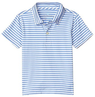 crewcuts by J.Crew Short Sleeve Athletic Polo Shirt (Toddler/Little Kids/Big Kids) (Kerry Stripe Peri Ivory) Boy's Clothing