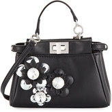 Fendi Peekaboo Micro Flower Satchel Bag, Nero/Argento