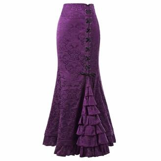 Boming Bodycon Ruffle Fishtail Skirt Women Punk Style Retro Mermaid Skirt Vintage Long Dress Purple