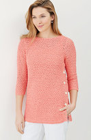 J. Jill Open-Stitch Side-Button Pullover