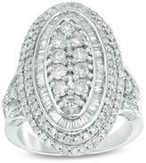 Zales 2 CT. T.W. Composite Diamond Oval Frame Ring in 10K White Gold