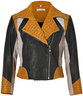 Faith Connexion Multicolored Leather Jacket with Studs