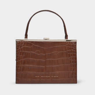 CHYLAK Vintage Clasp Bag In Brown Croc Embossed Leather
