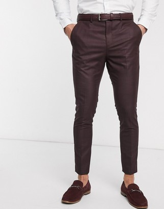 Selected skinny fit stretch suit pants in burgundy check
