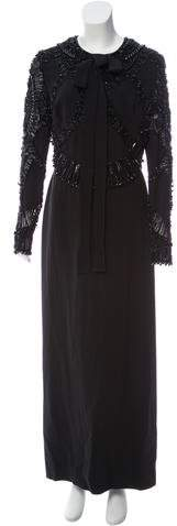 Elie Saab Beaded Silk Crepe Gown