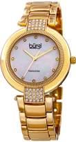 Burgi Women's Quartz Diamond & Swarovski Crystal Accented Mother-of-Pearl Dial Gold-Tone Bracelet Watch - BUR181YG