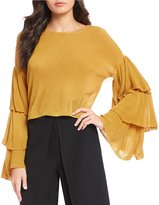 Gianni Bini Reeny Tiered Ruffle Bell Sleeve Sweater
