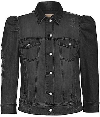 retrofete Ada Puff-Sleeve Distressed Denim Jacket