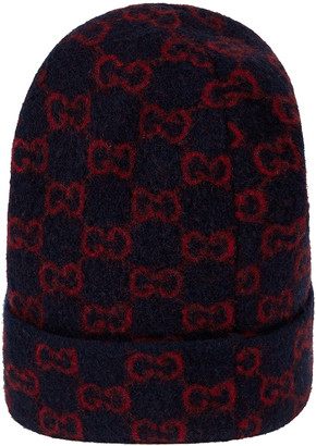 Gucci GG Wool Hat In Midnight Blue & Red in Midnight Blue & Red | FWRD