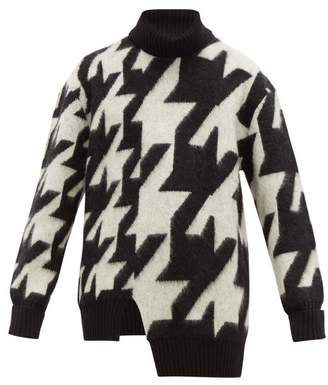 Alexander McQueen Blown Out Houndstooth Mohair Blend Sweater - Mens - Black White