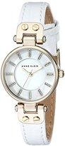 Anne Klein Women's AK/1950MPWT Gold-Tone Watch with White Leather Strap